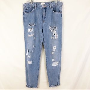Forever 21 High Rise Destroyed Boyfriend Jeans 29